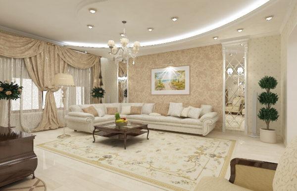 Классический стиль интерьера в комнате большой площадью