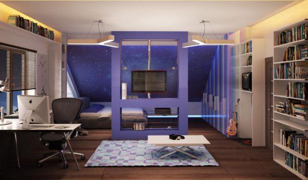 Оформление подростковой комнаты в космическом стиле