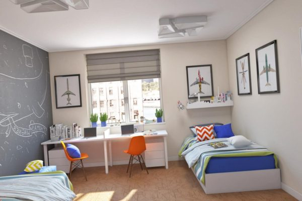 Оформление детской комнаты тематическими коллажами и росписью