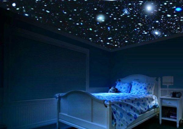 В детскую отлично подойдет потолок звездное небо