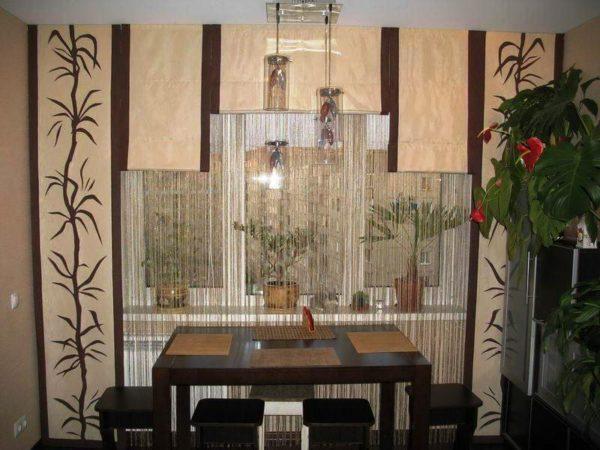 Японские шторы придают интерьеру необычный индивидуальный вид