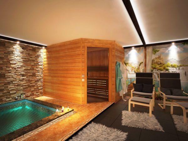 Полы в помещении финской бани могут быть дощатые или выложенные плиткой