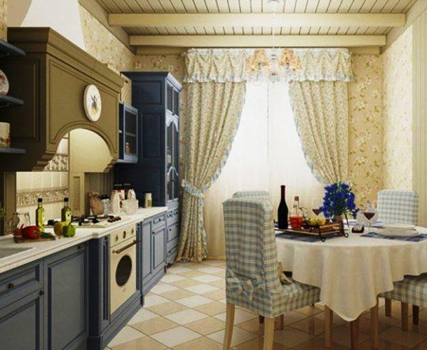 Если же на кухне высокие потолки можно использовать в качестве дизайнерского решения деревянные балки
