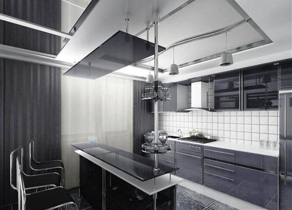Кухню в стиле хай-тек часто оформляют в бело-серых тонах